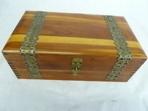 Vintage Cedar Box Jewelry Trinket Keepsake Cigar Metal Ornate Banding
