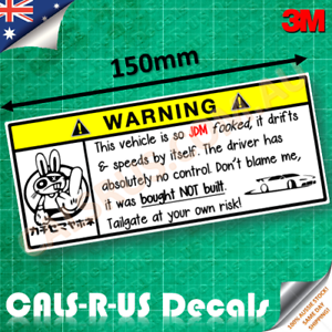 JDM-Tailgate-Warning-Decal-Infamous-Japan-Osaka-Rude-Fck-Dab-Bunny-Drift-Sticker