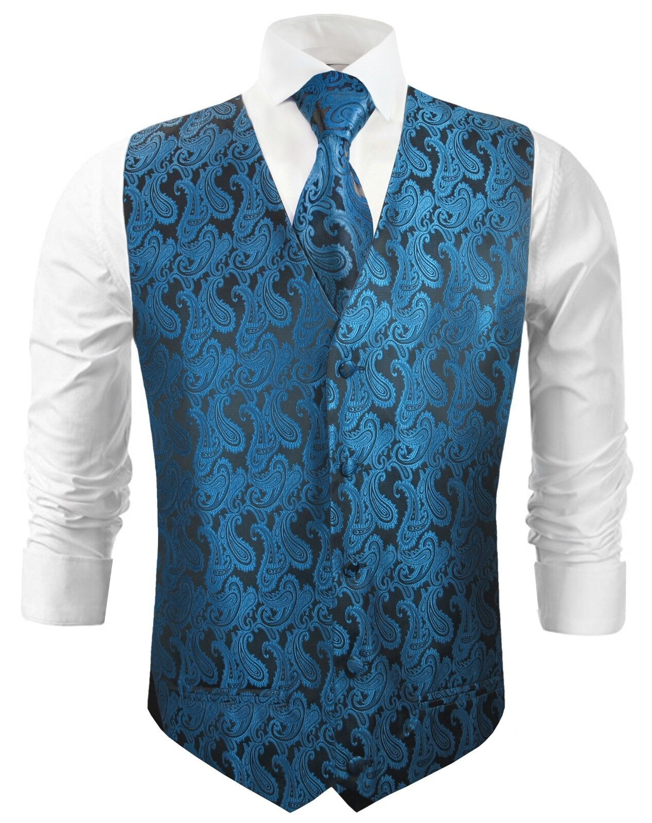 Paul Malone Hochzeitsweste mit Krawatte schwarz petrol paisley v100
