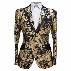 Angelino Men Woven Print Peak Lapel Fashion Sport Coat Blazer ...