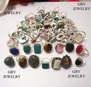 Lovely Onyx Gemstone 925 Sterling Silver Overlay Rings 3 Pcs Wholesale Lot S-6