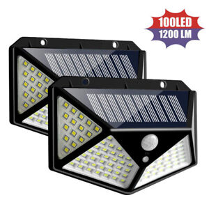 100LED-energie-Solaire-PIR-Capteur-De-Mouvement-Mur-Lumiere-Exterieure-Lampe-De-Jardin-Impermeable-R