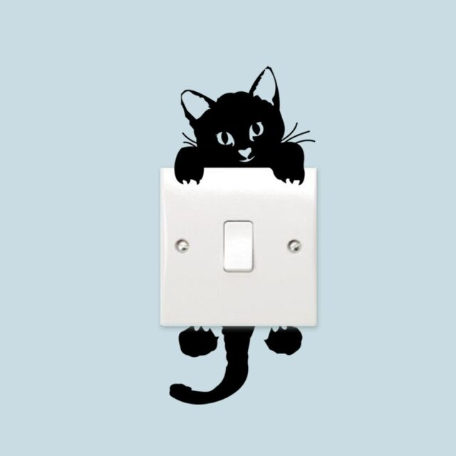 Black Cute Cat Switch Decal Vinyl Art Wall Sticker Wall Decals Switch decor