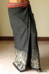 Thai Wrap Skirt Sarong Thai Dress Cotton Maxi Skirt Long