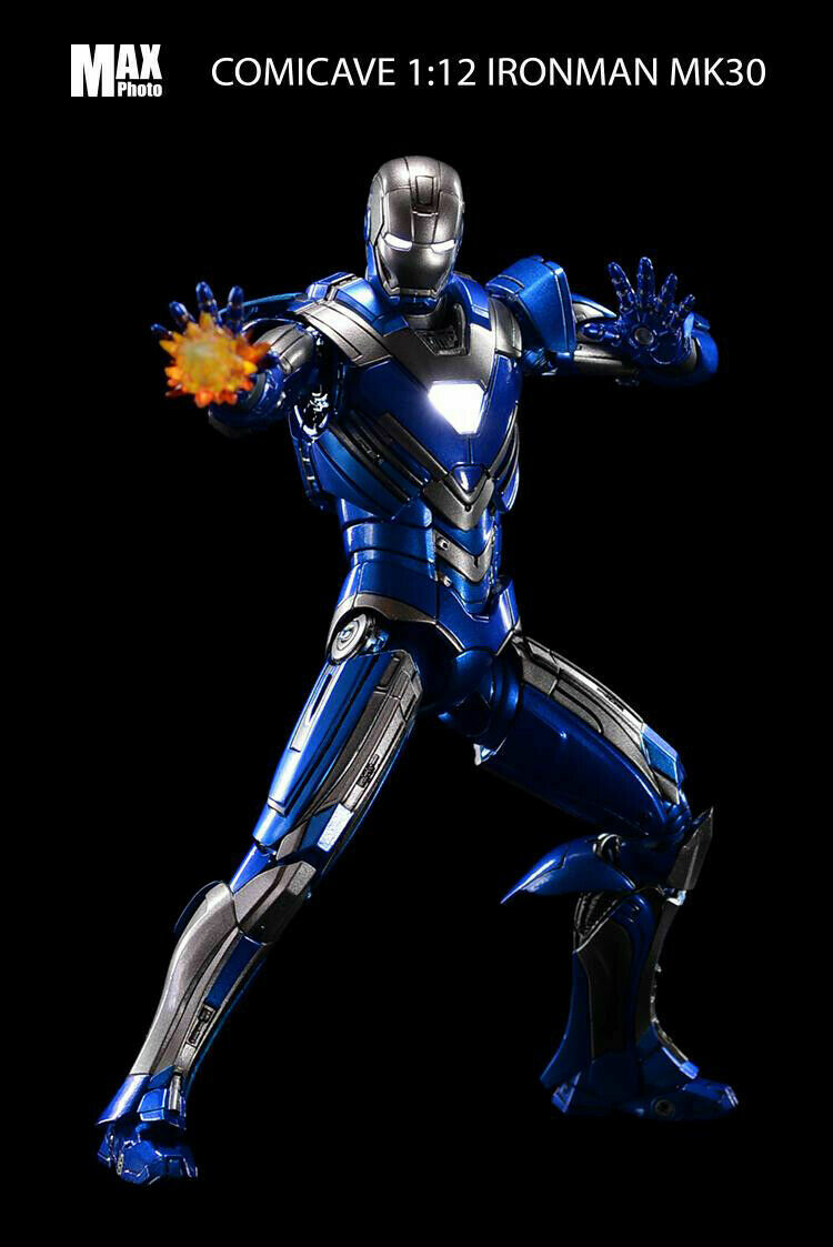 Comicave 1 12 Iron Man Figura MODEL MARK 30 luz LED azul Flexible Acero Editio