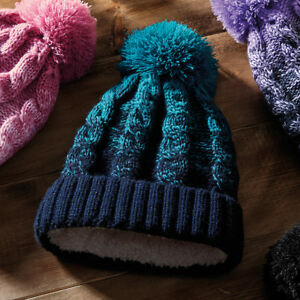 Ombré Beanie Hat Bobble Winter Hat Christmas Warm Ladies Pink Purple ... 41c02bec53d