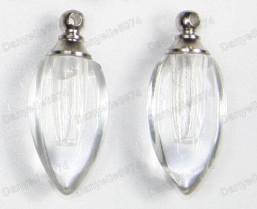 10pcs Pendentifs gros flacon en verre vide Bouteilles de parfum flacon Ton Argent Charme