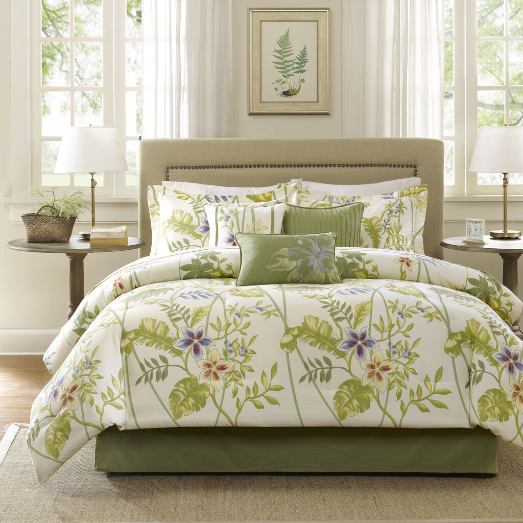 BEAUTIFUL MODERN TROPICAL EXOTIC COTTON Grün Blau IVORY PALM COMFORTER SET NEW