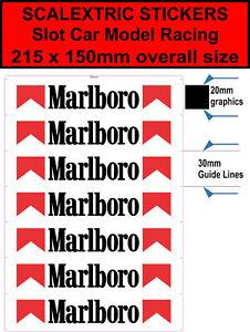 Adaptable Slot Car Scalextric Autocollant Marlboro Sponsor Track Barrières Logo Autocollant Vinyle-afficher Le Titre D'origine