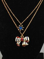 Betsey Johnson Goldtone Yacht Club Enamel Bow Crystal Flower Layer Necklace $38