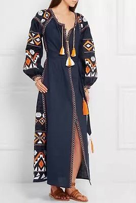 Women Ethnic Flower Embroidery Boho Dress Hippie Embroidered Beach Party Dresses