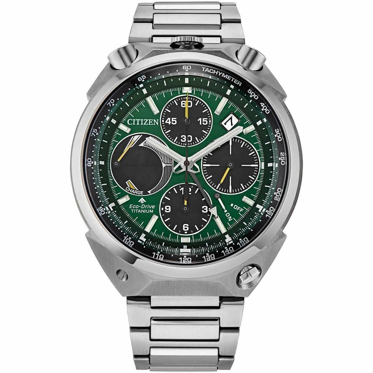Citizen Promaster Tsuno Chronograph Racer 43mm Green Dial Mens Watch AV0081-51X