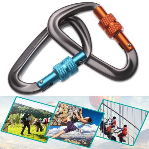12KN Carabiner Clip Hook Heavy Duty Aluminum D-Ring Screw Lock Rock Climbing UK