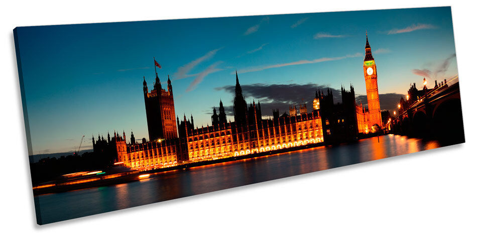 Sunset Sunset Sunset London City Big Ben CANVAS WALL ART Panorama Framed Print e81132