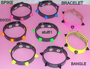 Rubber-Spike-Bracelet-cuff-Wristband-studded-emo-punk-goth-unisex-jewellery-NEW