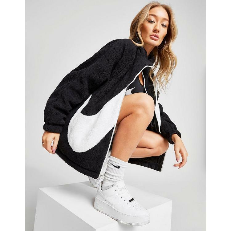 Nike Swoosh Logo Reversible Full Zip Sherpa Jacket Black   White [ci8937-010] To Make One Feel At Ease And Energetic
