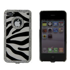 Apple iPhone 4 4S 4G Black White Zebra Print Rhinestone Bling Case Cover Skin