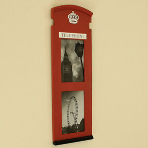Red-London-telephone-box-photograph-frames-wall-English-Traditional-Chic-Urban