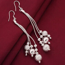 SPARKLING BEAD EARRINGS, Sterling Silver Plate, Dangle Drop Christmas Baubles