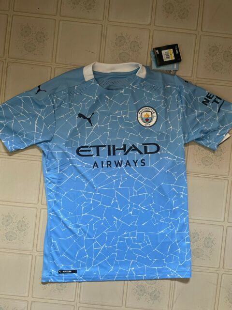 Puma Manchester City 2020/2021 Home Light Blue Jersey Men's Size Medium / Large
