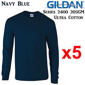 Gildan-Long-Sleeve-T-SHIRT-Navy-Blue-blank-plain-tee-S-3XL-Men-039-s-Ultra-Cotton