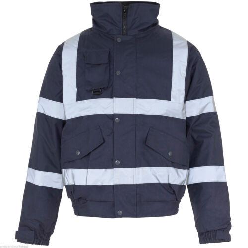 Hi Viz Vis Work Contractors Bomber Jacket Waterproof Padded Hooded Safety Coat