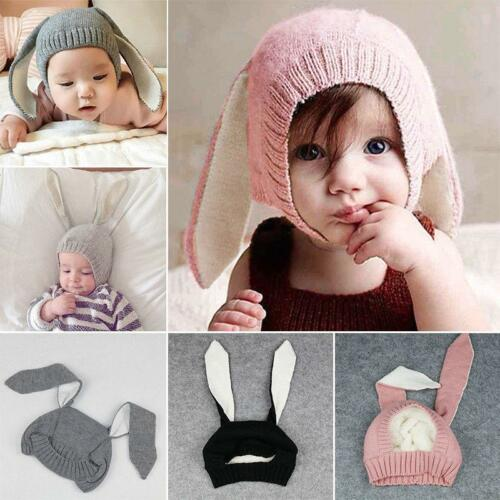 Baby Rabbit Bunny Costume Crochet Animal Ears Beanie Hat Outfits Photo Props SI