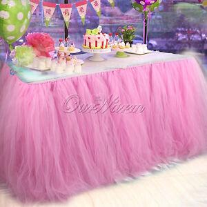 2pcs Adjustable 100knots TUTU Table Skirt For Girl Princess Birthday Table Decor