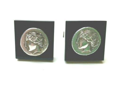 Circa 1950 Vintage Jewelry Greek Key Alexander the Great Meander Cuff Links Vintage Gilt on 800 Silver Cufflinks from Greece