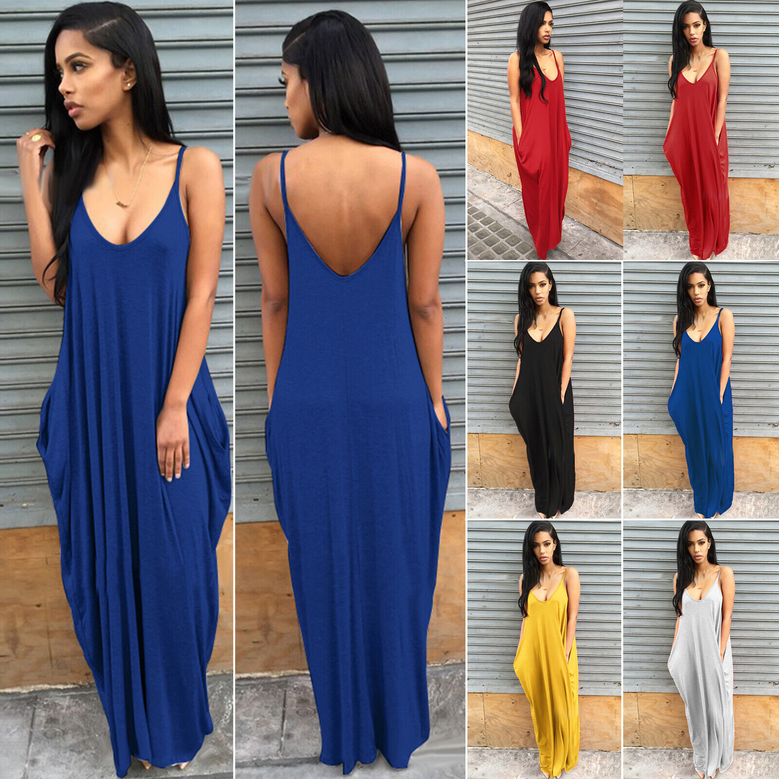 Women Ladies Maxi Dress Long Strappy Backless Loose Summer Beach Baggy Sundress 4