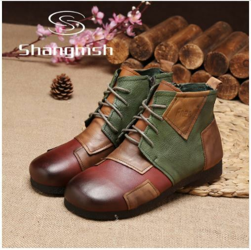 Zapatos de cuero genuino botas al Tobillo botas Zapatos Planos Suave informal para mujer