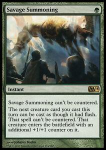 SAVAGE-SUMMONING-NM-mtg-M14-Green-Instant-Rare