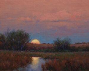 Hagerman-impressionist-realism-landscape-oil-painting-sunset-moonrise-sky-stream