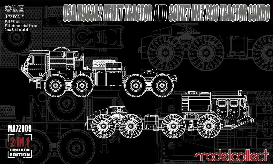 Modelcollect MA72009 1 72 USA M983A2 HEMTT Tractor and Soviet MAZ 7410