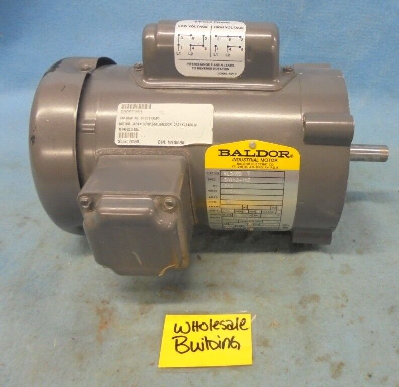 8e8ea017d375 Baldor KL3405 General Purpose AC Motor Single Phase 56c Frame TEFC ...