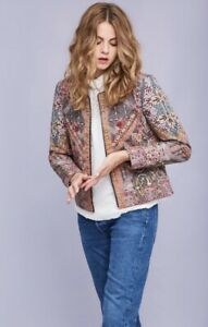 Anthropologie-Quilted-Studded-Jacket-Embroidery-Open-Front-Green-Rose-S-NEW