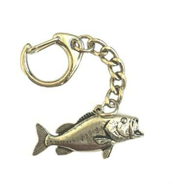 Largemouth Bass Facing Right Keychain ~ Antiqued Pewter ~ Keychain