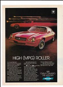 RED CHEVROLET CAMARO BERLINETTA Vintage 1981 Print Ad ~ High (MPG) Roller