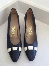SALVATORE FERRAGAMO Ladies ALL LEATHER navy / cream court shoes UK 4