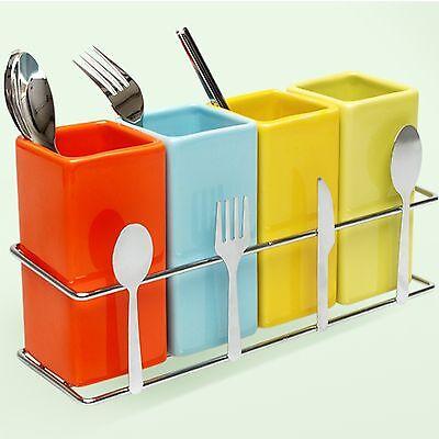 Spoon Rest Rack 4 Ceramic Square Organizer for Fork Spoon Chopstick Knife Holder