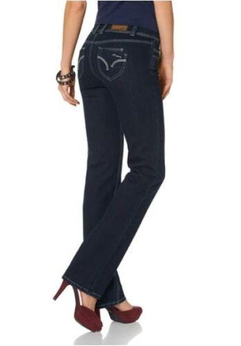 Arizona Jeans Straight k-gr.17-21 Nuovo Donna Stretch Denim blu rinsed Pantaloni l30