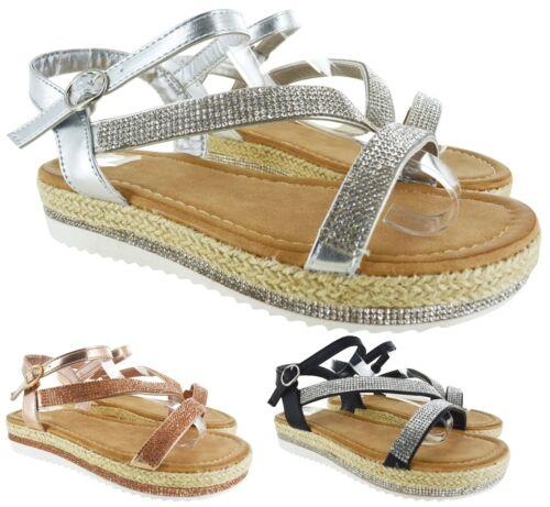 Femmes été Casual Sandales Femme Strass Été Espadrilles Chaussures Taille 3-8