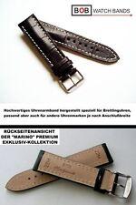 - BOB MARINO Handmade ECHTLEDERUHRBAND Mokkabraun Kompatibel mit Breitling 22 mm