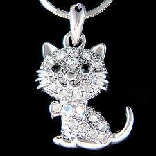 w Swarovski Crystal ~Kitty Cat~ Kitten Animal pet Charm Pendant Necklace Jewelry