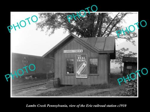 OLD 6 X 4 HISTORIC PHOTO OF LAMBS CREEK PENNSYLVANIA ERIE RAILROAD STATION c1910