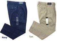 Ralph Lauren Polo Logo Chino Classic Fit Khaki Pleated Pants 30 32 33 34 36 38