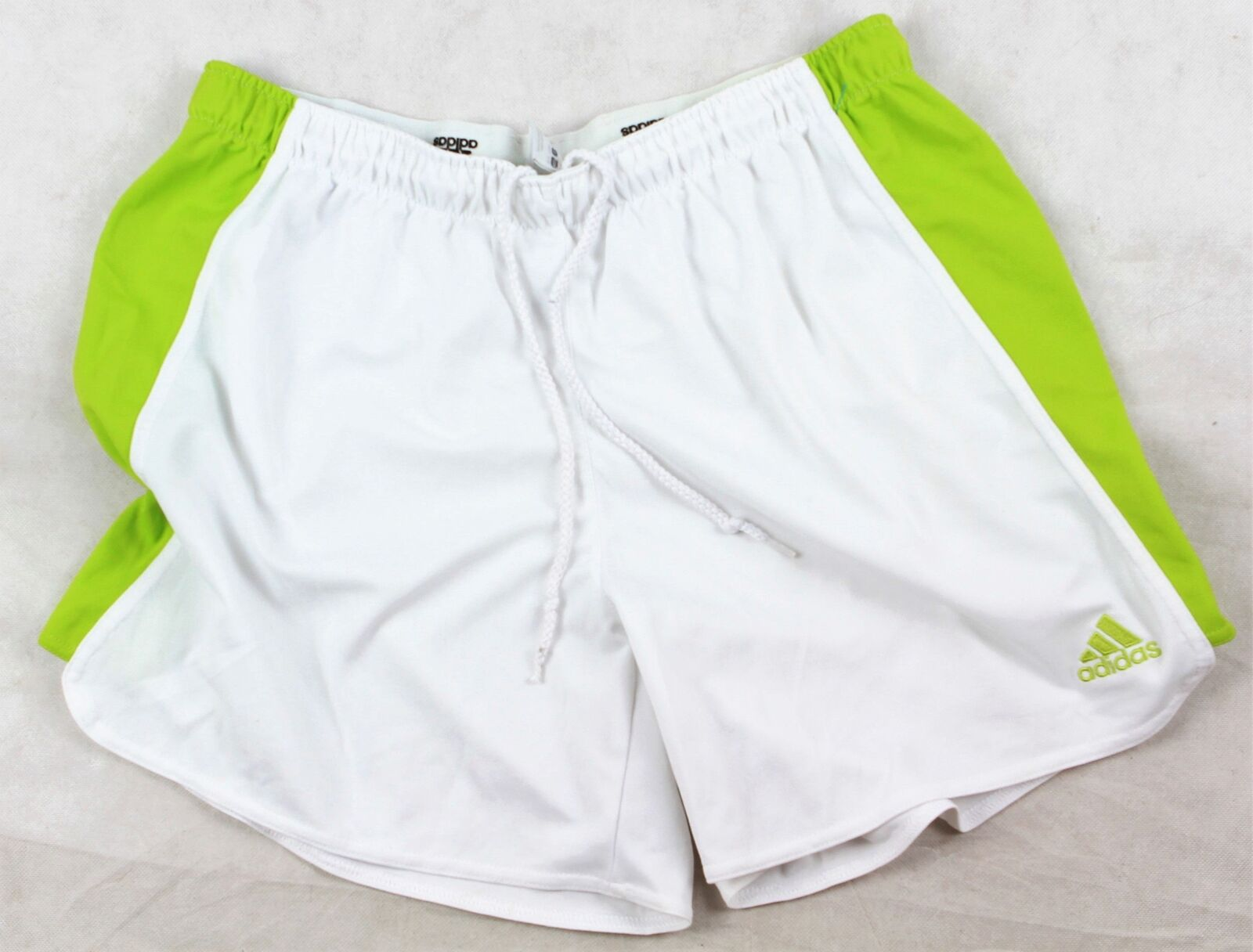 ADIDAS Climalite   Football Sports SHORTS White Green  Size L   160 Y