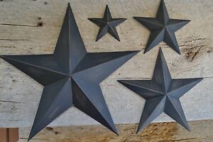Set-of-4-12-034-8-034-5-5-034-3-5-034-BLACK-BARN-STAR-Metal-Primitive-Country