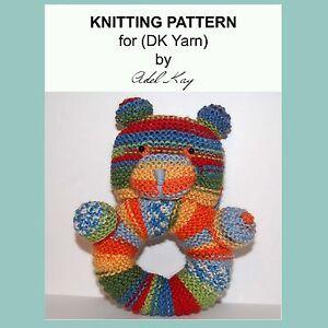 KNITTING-PATTERN-Anwen-Teddy-Bear-Rattle-Animal-Baby-Pram-Cot-Soft-DK-Yarn-Toy