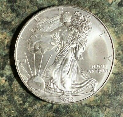 FREE SHIPPING 2008  AMERICAN SILVER EAGLE 1 OZ DOLLAR .999 FINE GEM BU COIN